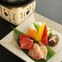 【早春の台物】福島牛・川俣軍鶏の石焼き