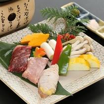 福島の味覚三種盛り(福島牛・エゴマ豚・川俣軍鶏)
