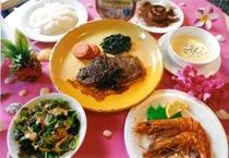 [通常夕食]牛コース料理食事内容+食器+テーブル以外のディスプレイは全てイメージ