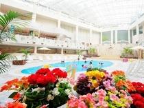 温水プールでも季節ごとに花を観賞できる