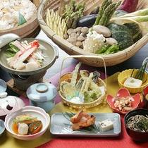 *夕食一例(グリーン期)/旅に出たら、食で四季を感じる。それも楽しみのひとつ