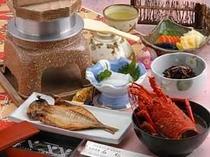 伊勢海老つきプランは、朝食は伊勢海老の頭のお味噌汁