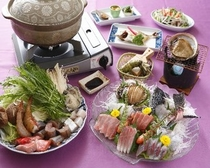 海鮮鍋とアワビの踊り焼き&活造りプラン