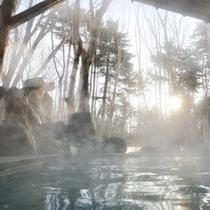 春の露天岩風呂