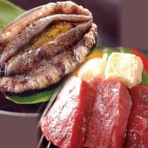 新鮮なアワビと肉汁溢れる和牛ステーキ