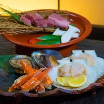 アワビが躍る海鮮焼きと味の芸術A5前沢牛、極上特選いろり会席