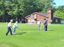 「パークゴルフ」当荘の目の前にあるパークゴルフ場です。5月〜11月の間、お楽しみいただけます。