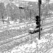 ホテル前の雪景色(車)