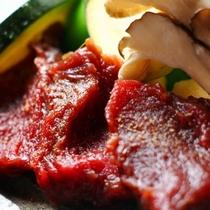 ☆料理_夕食_鹿肉石焼 (1)