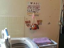 お風呂の入口に洗濯機