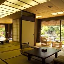 貴賓室(「福禄寿」101号室)の客室と専用庭園
