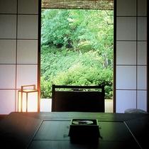 客室より眺める庭園