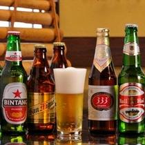 アジアビールが、リゾート気分を盛り立ててくれます
