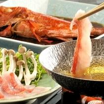 宿名物、とろける金目鯛しゃぶしゃぶと金目鯛姿煮