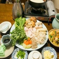 飛鳥鍋夕食一例。