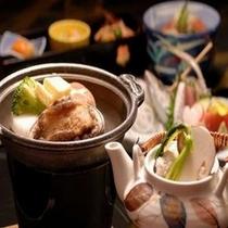 秋の味覚料理 松茸アワビ