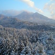 8階レストランより望む冬の那須岳