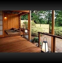 ■ 客室-西館露天風呂付(庭)