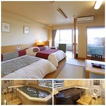 楽水館露天風呂付客室一例