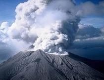 噴煙する桜島