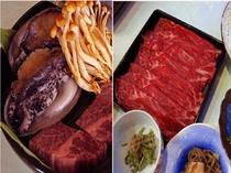 黒毛和牛ヒレ肉&蝦夷あわび炭火焼き&牛肉のしゃぶしゃぶ