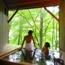 二人で過ごす貸切温泉。渓谷を見ながら非日常を楽しめる