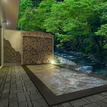 男性用大浴場併設の露天風呂