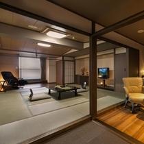 露天風呂付き客室の15畳和室+ダイニングのデラックスルーム