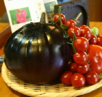 農園のおもしろい野菜たちデス・・・がまぐち茄子?!