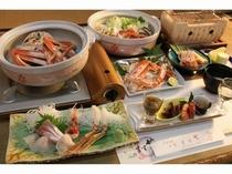 ズワイガニ温泉蒸し、焼き蟹、蟹刺し、蟹すき鍋、〆の蟹雑炊も美味しい☆