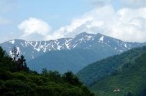 部屋の窓から眺められる上越国境の山々