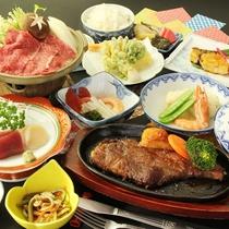 *【雫石牛ステーキプランお料理一例】ボリューム満点!雫石牛ステーキをメインとした当館自慢のお料理です