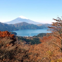 大観山から眺める富士山と芦ノ湖