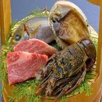 三大美味♪グルメチョイス食材◆伊勢海老×特選和牛ステーキ×アワビ