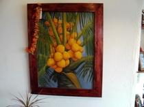 館内飾る南洋風絵画(椰子)