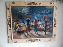 館内飾る南洋風絵画(市場)