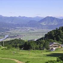 *北アルプスの山々に囲まれた長閑な田園風景が広がります。(戸狩温泉スキー場上部より)