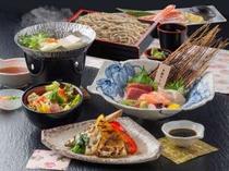 夕食付きプランの「北海道産石臼挽きせいろ蕎麦御膳」
