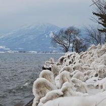 猪苗代湖のしぶき氷