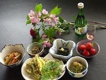 春の料理例(蕨の生姜かけ・蕗の油炒め・こごみのおひたし)