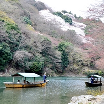 *当館目の前の景色。春は嵐山の桜が咲き乱れます。