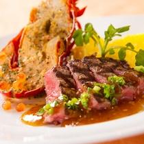 【レストランラマンデール】「牛ステーキ」と「ロブスターグリル」の盛り合わせコース
