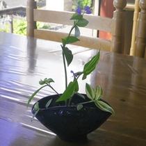 *【館内】当館の女将が季節の花を生けています。