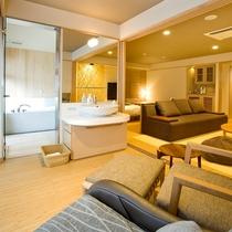 【特別室】50~55㎡の広々空間は洗練された和モダンスタイル。