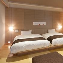 【羽衣】ベッドのマットレスは全客室シモンズ社製を採用、最高の寝心地をお届けします。