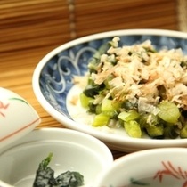 朝食-野沢菜