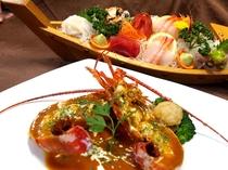舟盛と伊勢海老料理の「伊豆海鮮プラン」