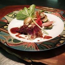 鹿肉のロティの赤ワインソース