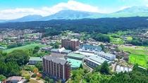 ホテル上空撮影 バック阿蘇五岳 ノートリミング