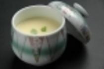 茶碗蒸し:ぎんなん、鶏肉、椎茸、すまき、百合根、三つ葉、地エビ